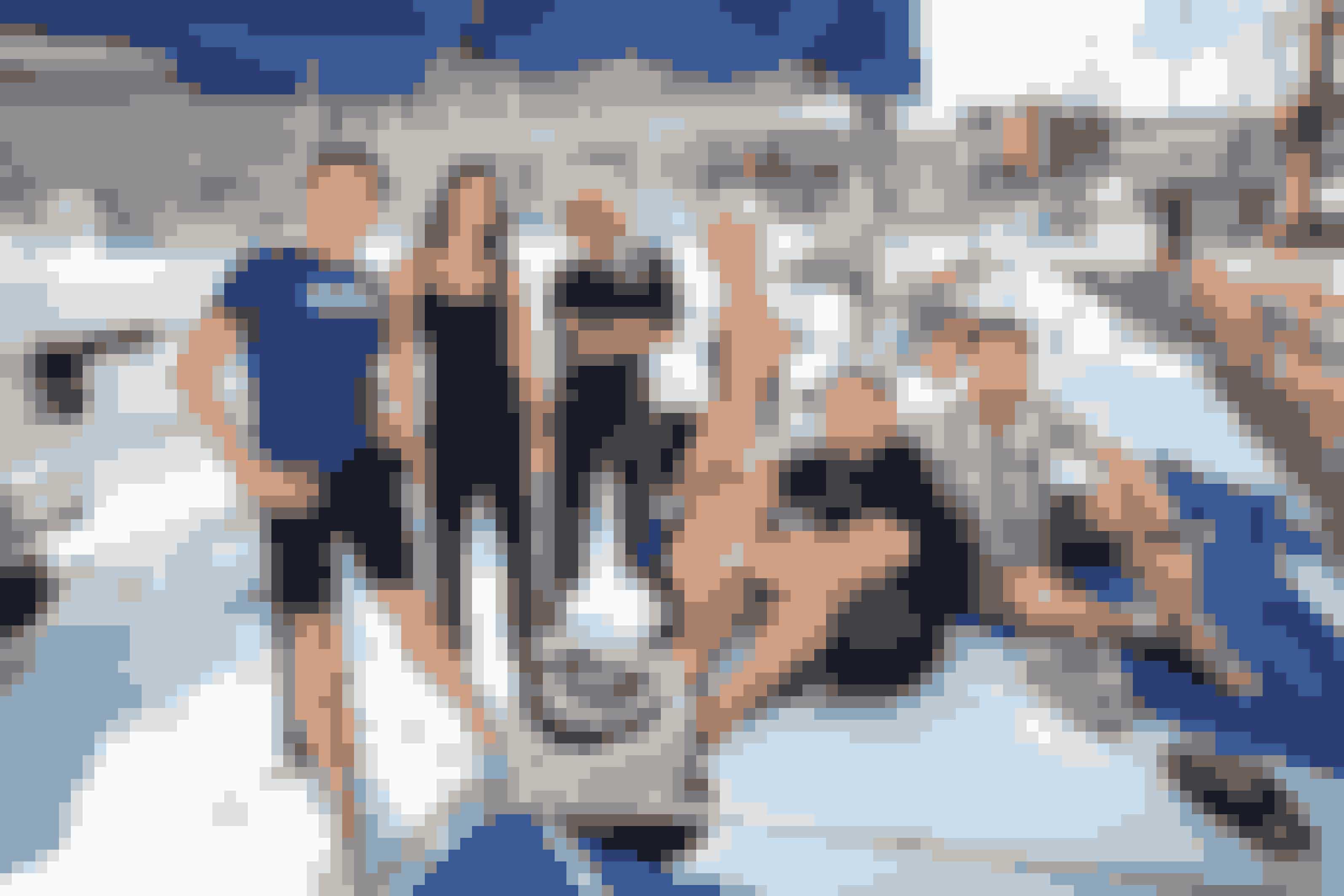 "De syv deltagere i Kanal 5-programmet ""Over Atlanten"". Fra venstre er det Nicolaj Kopernikus, Sus Wilkins, Hella Joof, Christel Pixi, Peter Falktoft og Gorm Wisweh."