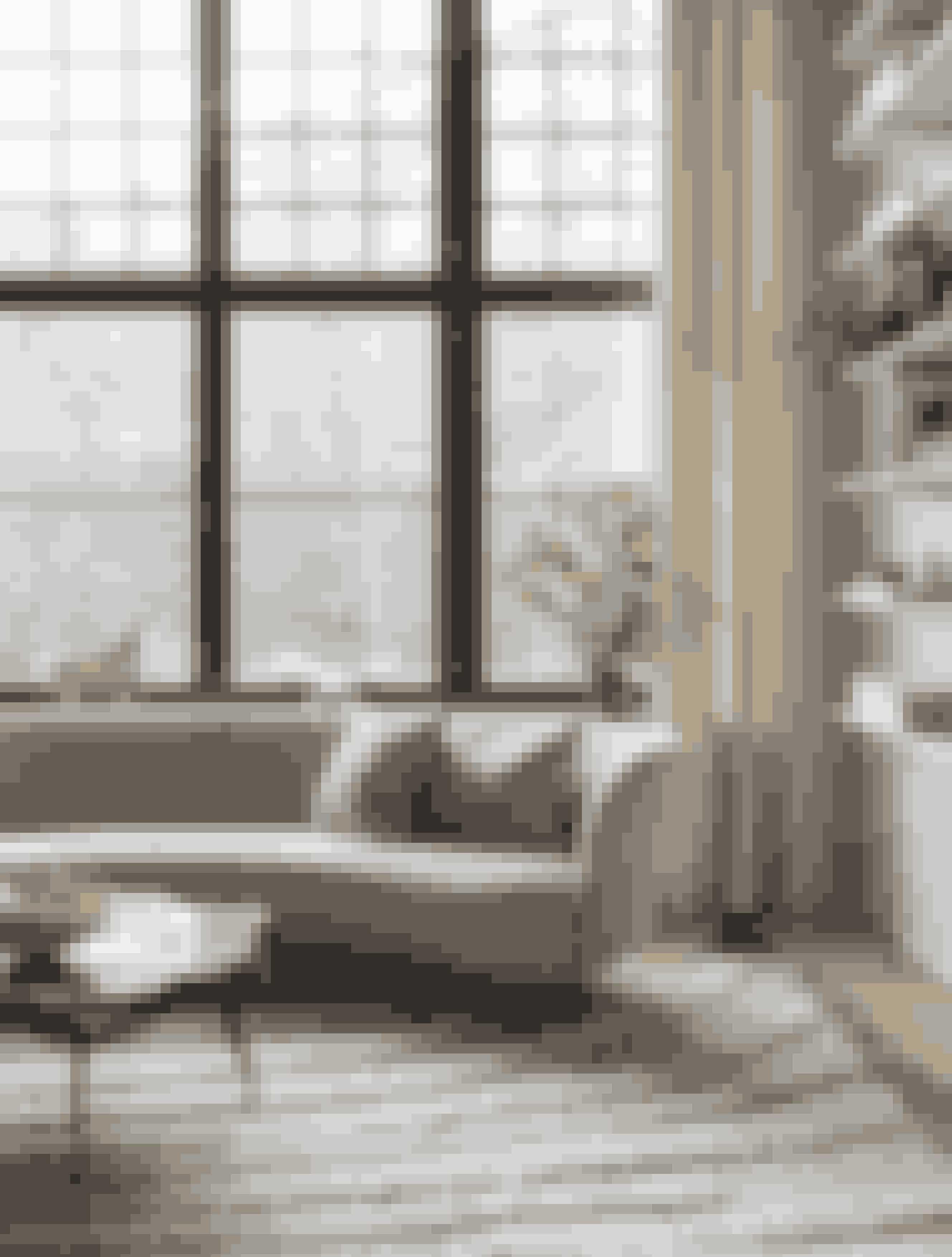 Sofaen er fra det svenske møbelbrand Massproductions og købt sidste år. Carolina faldt for den skulpturelle form. Sofabordet er et vintagefund fra Galleri Sylvia Enget, og det håndknyttede tæppe er fra Cappelen Dimyr. Oksen i vindueskarmen er lavet af keramik og hedder 'Torito de Pucará'. Den stammer fra Peru og er et symbol på beskyttelse og velstand.