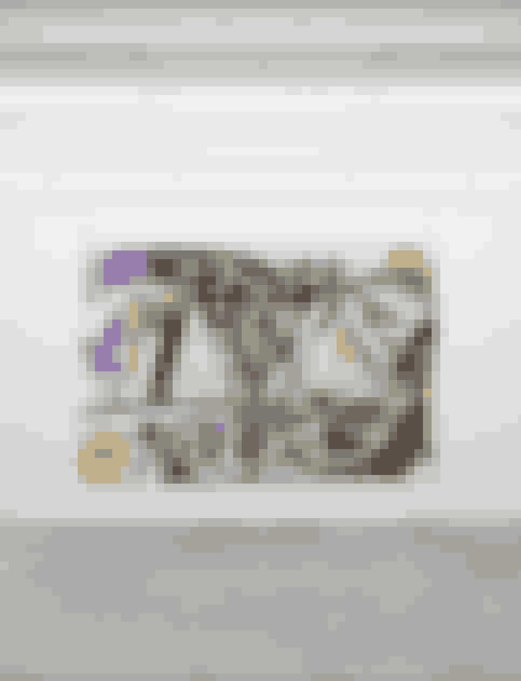 Tæppe af Anton Munar, 22.000 kr.Den danske kunstner Anton Munars primære medie er maleri, men i arbejdet med at tænke hverdagen ind i kunsten har han bredt sit virke ud og arbejdet med at male på tekstil. Det er der kommet et iøjnefaldende og farvestrålende bomulds- og uldtæppe ud af, som både kan bruges som pynt på væggen eller som tæppe i sofaen – hvis man ellers nænner det.