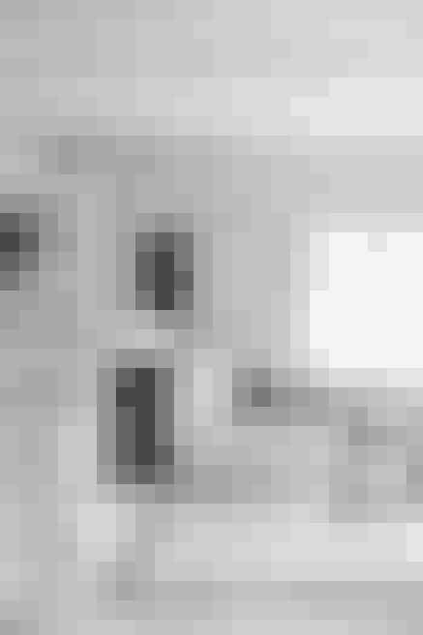 Stuens sofa er 'Ghost' fra Gervasoni, og tæppet er fundet hos Kirsten Fribert. Begge træskamler er fra Rosmosegaard, og lampen er fra Ikea. Maleriet af Anne Tholstrup er købt i familien Asbæks galleri på Mallorca, og puderne er en samling fra henholdsvis Society og De Fire Årstider.