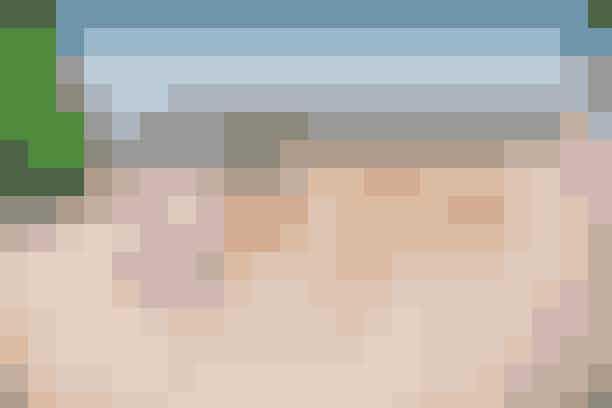 Fra venstre: De pink mules er fra Veras, mens de brune pumps er fra Acne og nogle, Rebecca elsker at have på, selv om de er blevet brugt godt. De fine guldsandaler med kitten-hæle er fra Prada og købt på et marked, og de lyserøde stiletter er købt hos Stine Goya.