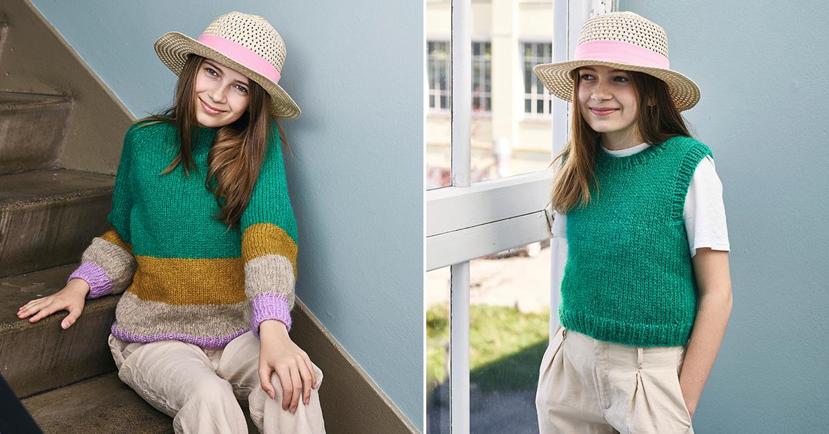 Strik: Sweater og vest til store piger