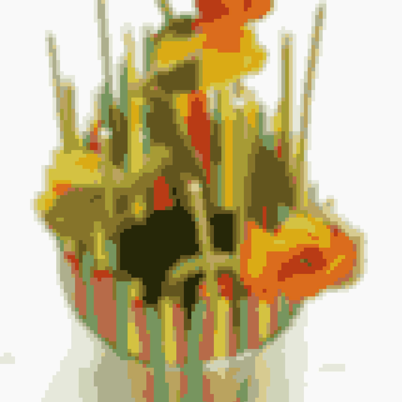Anbring de største blomster i oasisblokken først. Her er det sibiriske valmuer.