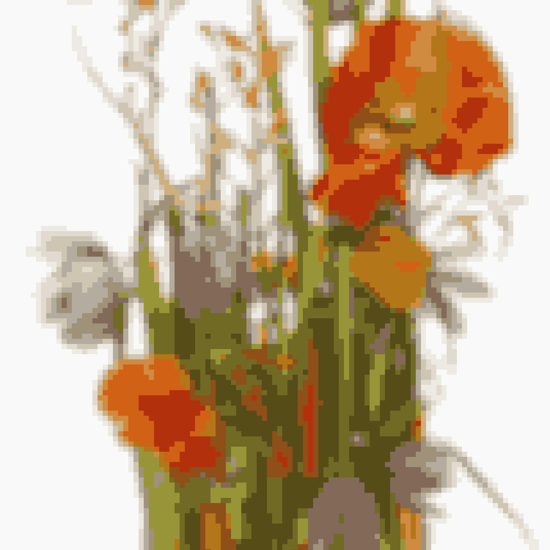 Stik resten af blomsterne lodret ned i blokken, så de vokser lige op mod solen. Her er brugt vibeæg, hjertegræs og Montbretia.