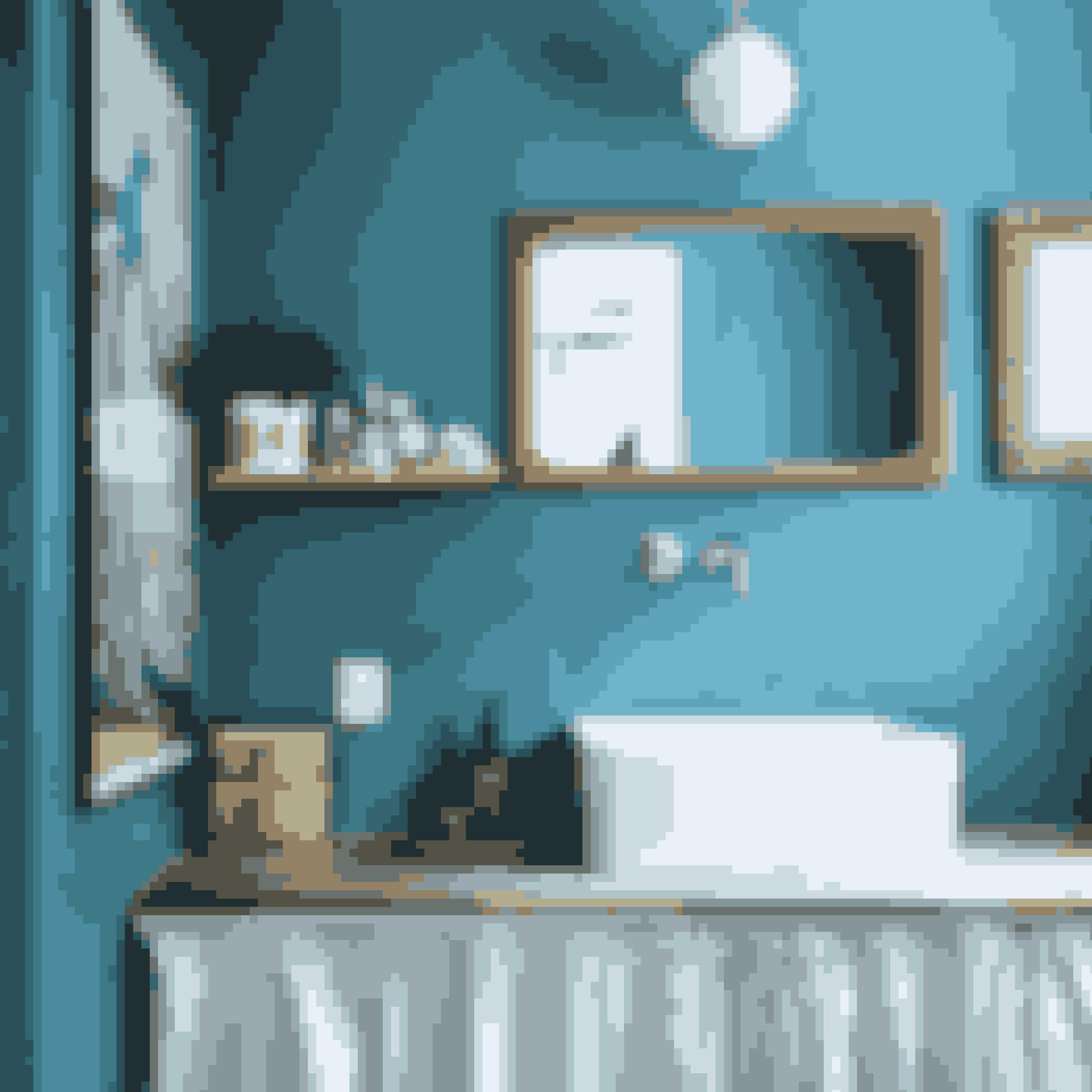 Grib penslen og hent inspiration hos havet når badeværelset skal males. Den turkise farve er retro og cool.