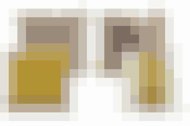 1. Pudebetræk i imiteret pels, 79,95 kr. (H&M). Karrygul pude, Moss, 259 kr. (Ilva)  2. Pude i imiteret pels, 129 kr. (Ilva). Pudebetræk med dip dye-effekt, Shades of colours, 299 kr. (House Doctor)