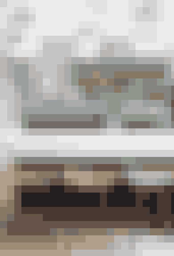 Pift reolen op ved at male den en flot kraftig farve -men behold rammen hvid. Det giver en flot kontrast og fremhæver samtidig de smukke glas og skåle på hylderne.  Se flotte kurve og kasser til opbevaring i Mad & Boligs webshop her
