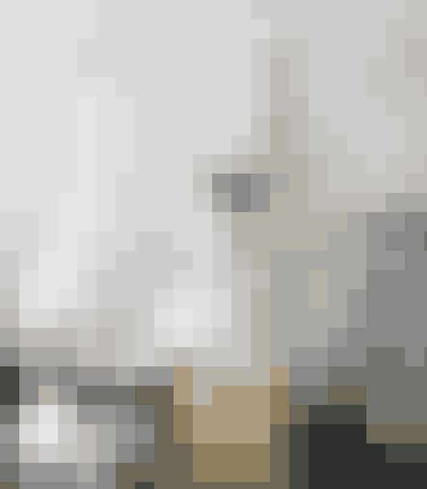 Spray et tyndt lag hvid maling på kogler, og læg dem rundt omkring imellem andre ting. Her har en kogle fået sig en plads imellem flaskerne på barbordet. Det fine guldjuletræ stammer fra Elsa Adams' oldemor og hænger her på en antik karaffel.