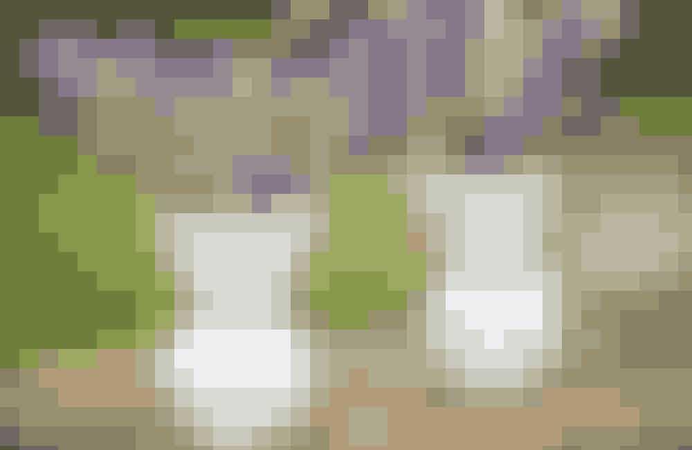 Mini-dekoration Lad ikke små vaser stå tomme som ren pynt – brug dem! Disse to af hvid opalineglas er ca. 8 cm høje og fra 1900-tallets første halvdel. 125 kr. pr. stk. hos Laurines Hus.
