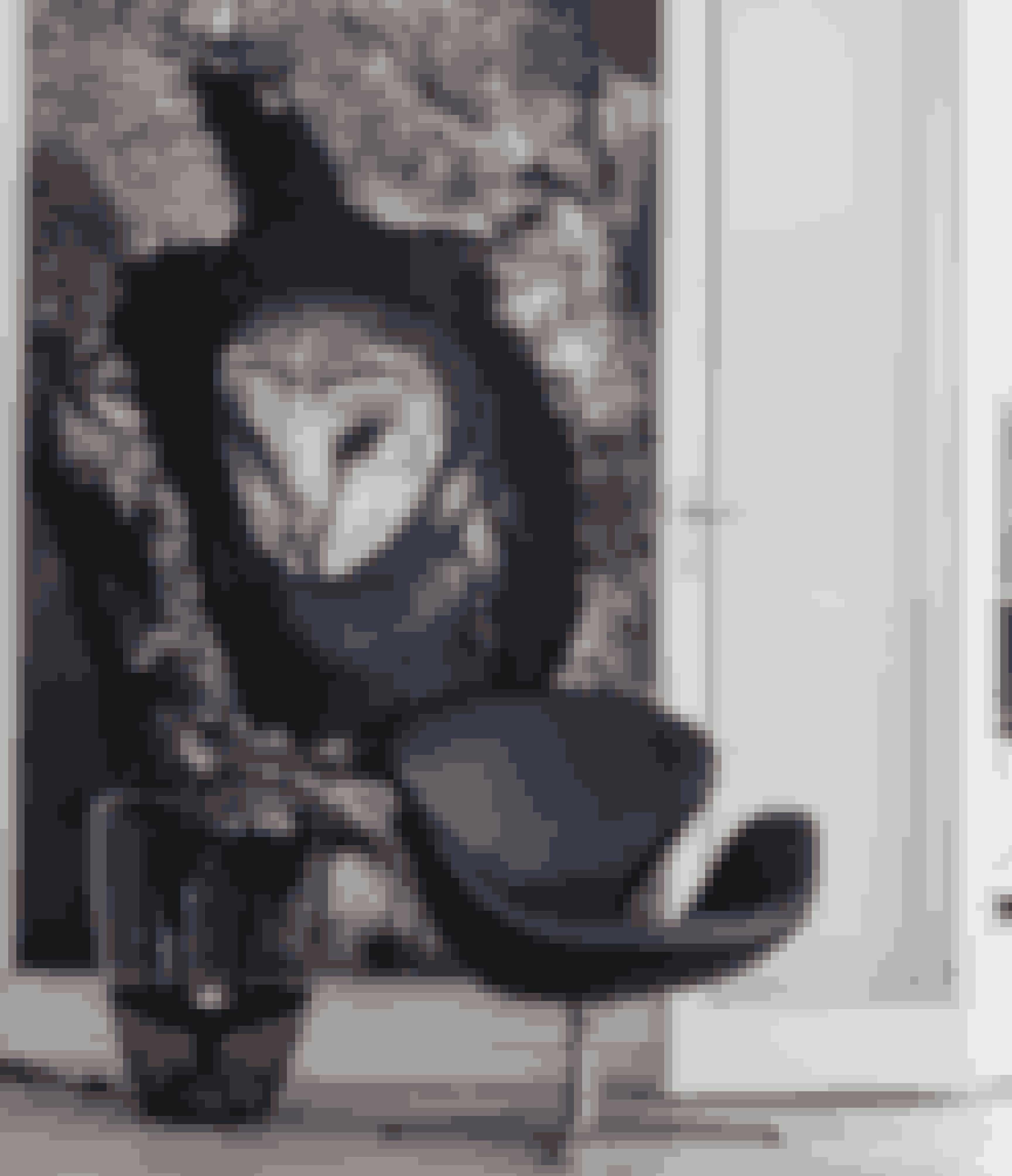 Arne Jacobsens Svane-stol i sort læder og lampen fra Bronkis giver sammen med maleriet af Nina Sinding et mørkt spot i det ellers lyse hjem.