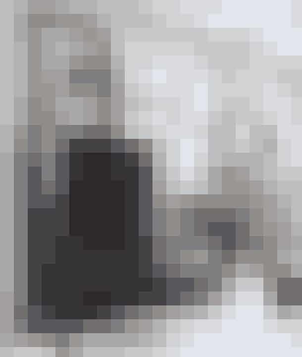 Hiv naturen indenfor ved at sætte grene med bittesmå ellekogler i en glasvase og et lille nåletræ i en krukke på gulvet som her i pejsestuen, hvor den engelske bulldog Belle og katten Misser hygger sig. Det kinesiske skab er gammelt, og lignende kan findes hos Greensquare.