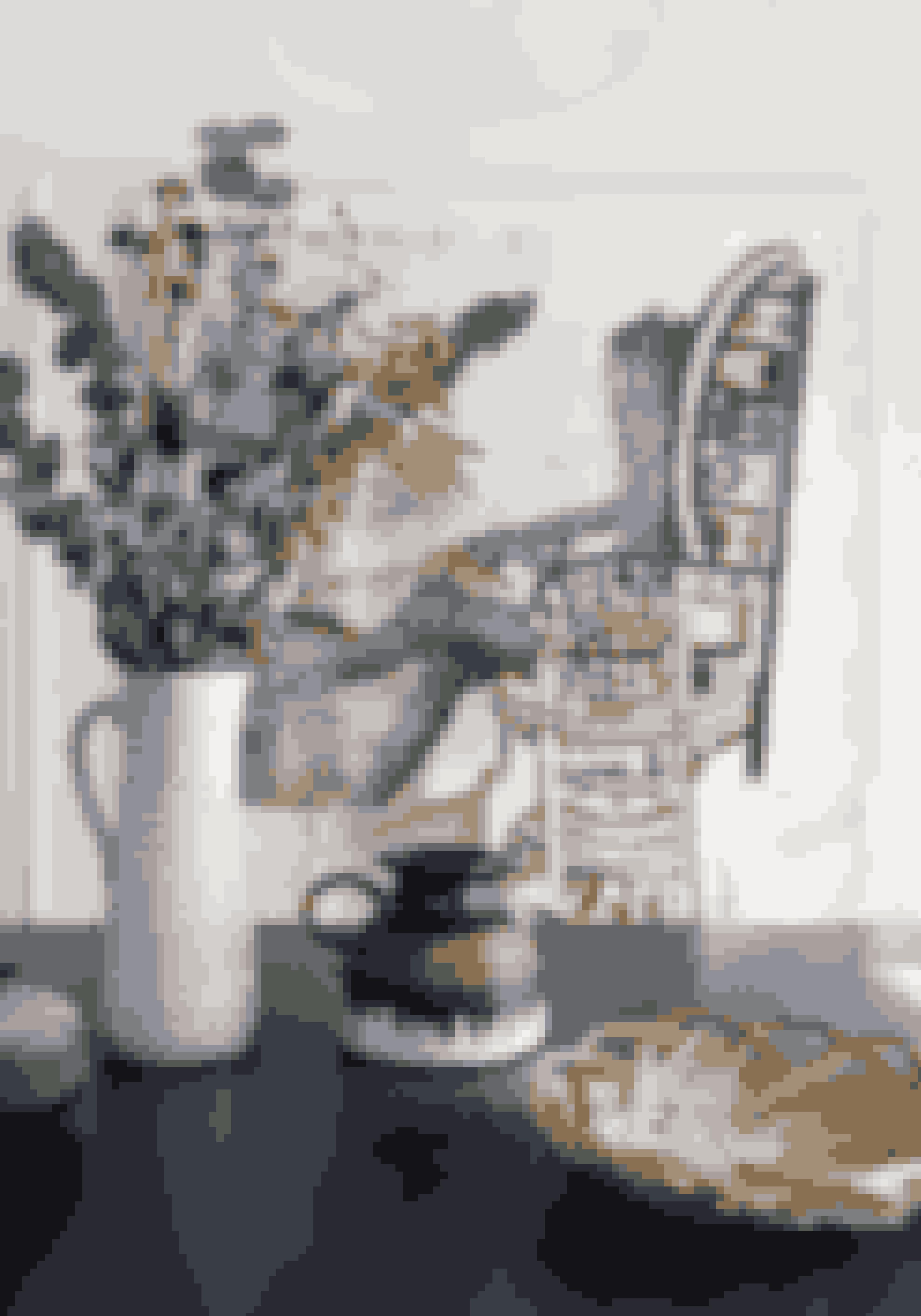 Bland gerne forskellig slags keramik, men hold dem i de samme farver, så det ikke bliver rodet at se på.Keramikken er loppefund, og det store værk er af Evren Tekinoktay.