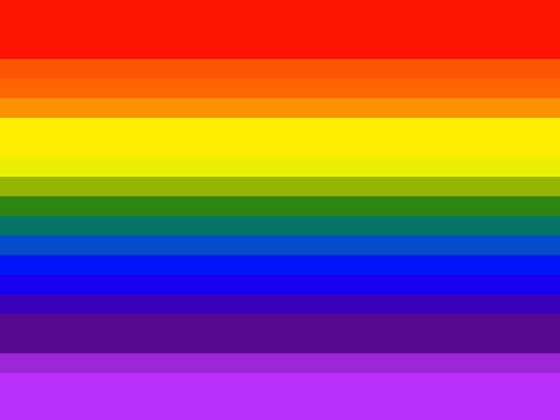 1978-1999 Pride-flagI 1978 blev Harvey Milk på tragisk vis myrdet af en af hans politiske modstandere, og herefter kom der en massiv efterspørgsel på et officielt Pride-flag, der hyldede alle LGBTQIA+-personer. Gilbert Baker stod endnu engang bag flaget, som han reducerede til syv farver, fordi den lyserøde farve var svær at få fat i.