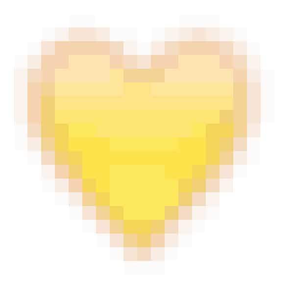 Det gule hjerte betyder, at I er hinandens bedste venner.